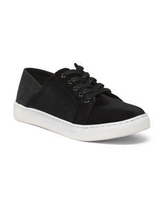 Velvet Lace Up Sneakers