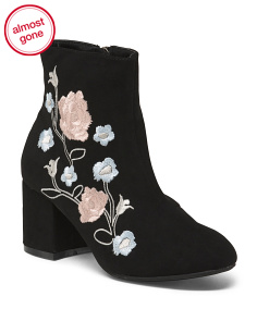 Embroidered Ankle Booties
