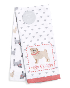 Made In India 2pk Pugs Kitchen Towels