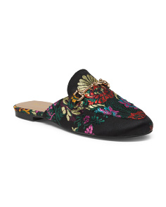 Embroidered Floral Printed Mules