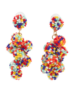 Handmade Multi Color Beaded Cluster Ball Earrings
