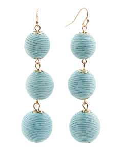 Handmade Thread Wrapped 3 Tier Ball Earrings