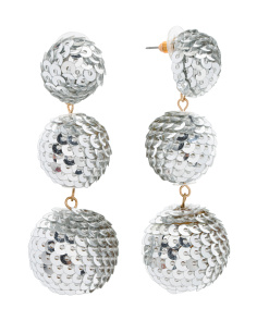Handmade Sequin Covered 3 Tier Ball Earrings