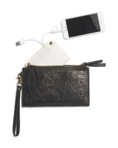 Tooled Charging Leather Pouch