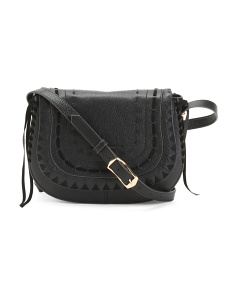 Embroidered Leather Crossbody