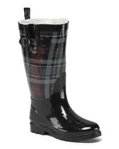 Wide Calf Cozy Lined Plaid Rain Boots