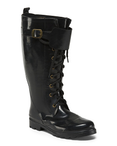 Lace Up High Shaft Rain Boots