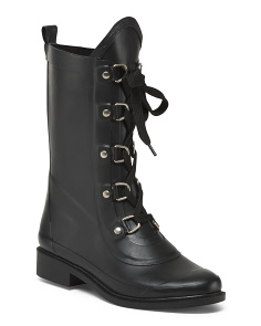 Lace Up Mid Calf Rainboots