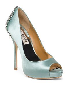 Crystal Embellished Peep Toe Pumps