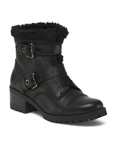 Double Buckle Faux Shearling Booties