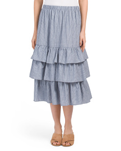 Made In USA Chambray Ruffle Skirt