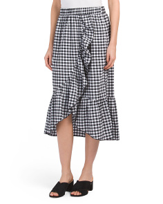 Made In USA Check Faux Wrap Skirt