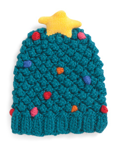 Popcorn Knit Christmas Tree Beanie