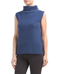 Sleeveless Cashmere Sweater With Side Slits