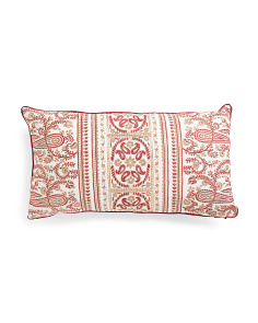 14x26 Embroidered Linen Pillow