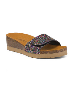 Made In Italy Glitter Slide Sandals