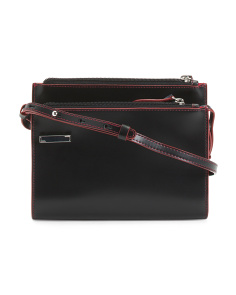 Audrey Trisha Double Zip Leather Crossbody