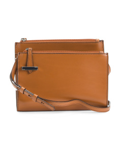Leather Trisha Double Zip Crossbody