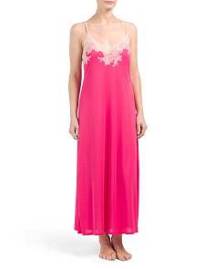 Slinky Maxi Sleep Gown With Lace