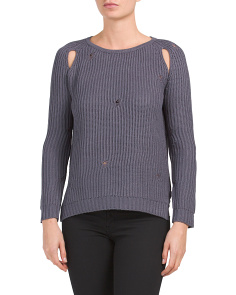 Distressed Sweater With Armhole Slits