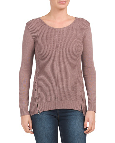 Ribbed Hi-lo Hem Sweater With Side Zips