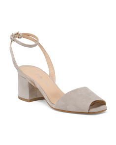 Made In Italy Ankle Strap Suede Sandals