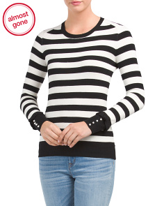 Striped Sweater With Faux Pearls