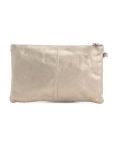 Made In Italy Medium Leather Zip Wristlet