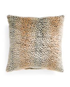 Made In USA 22x22 Faux Leopard Fur Pillow