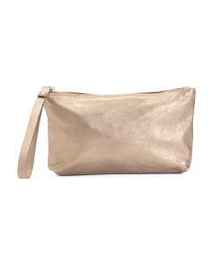 Made In Italy Small Leather Zip Pouch