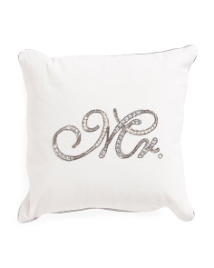 Made In India 14x14 Mr. Beaded Pillow