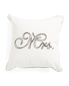 Made In India 14x14 Mrs. Beaded Pillow