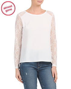 Made In Italy Lace Long Sleeve Blouse