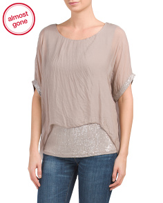 Made In Italy Silk Fango Sequin Top