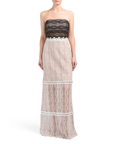 Made In USA Strapless Mixed Lace Gown