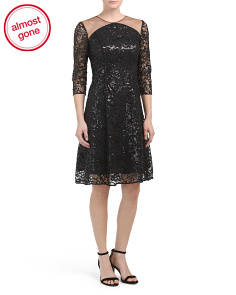 Three-quarter Sleeve Dress With Lace