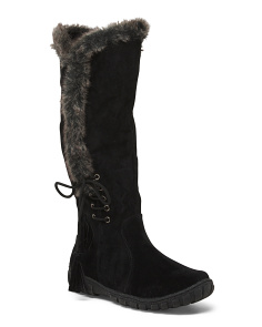High Shaft Boots With Faux Fur