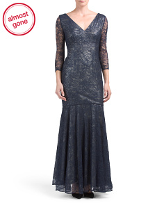 Three-quarter Sleeve V-neck Gown