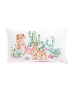 Made In India 14x24 Cacti Bunny Pillow