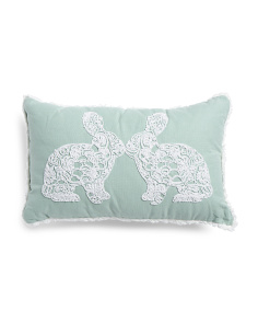 12x20 Embroidered Bunny Pillow