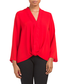 Juniors Woven Twist Front Top
