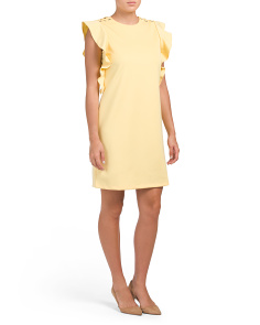 Crepe Ruffle Sheath Dress