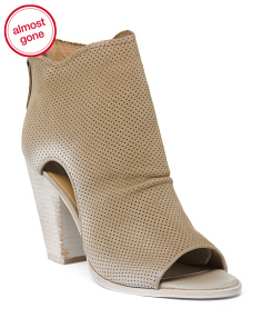 Perforated Leather Ankle Booties