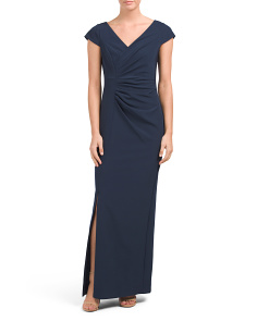 Gathered Side Gown With Slit