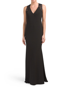 Sleeveless Gown With Lace Back