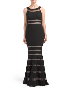 Sleeveless Sheer Stripe Detail Gown