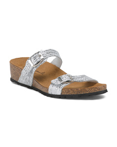 Made In Italy Glitter Leather Sandals