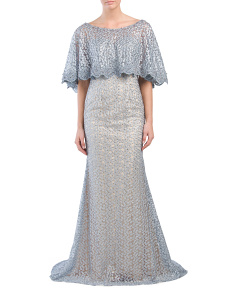 Hand Beaded Embellished Capelet Gown