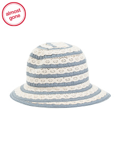 Made In Italy Denim Hat With Lace Ribbon