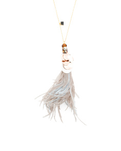 Handmade 18k Gold Plated Heari Ostrich Feather Long Necklace